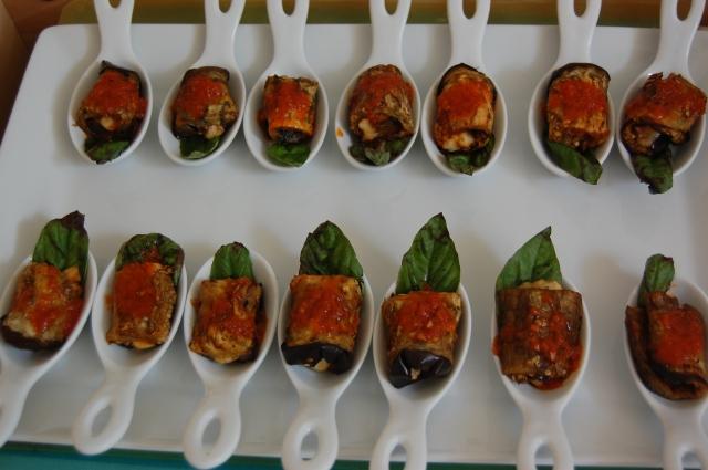 bite-size eggplant parmesan