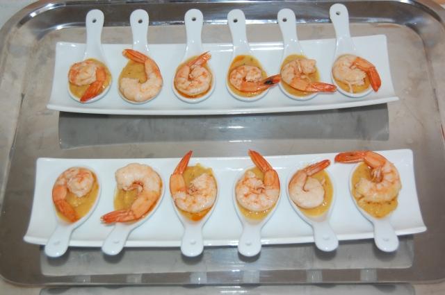 shrimps on cannellini bean dip